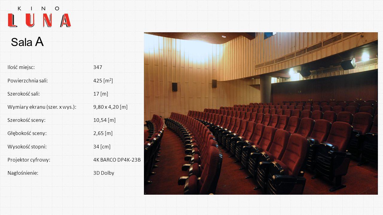 Sala A Ilość miejsc: 347 Powierzchnia sali: 425 [m2] Szerokość sali: